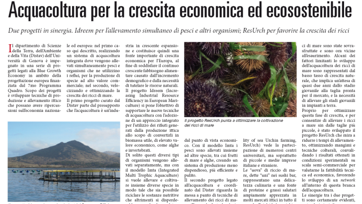Aquaculture for an economical and eco-sustainable growth